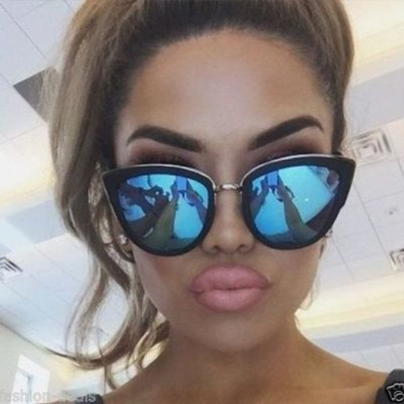 27e1106093 Blue Mirrored Cat-Eye Pointed Sunglasses